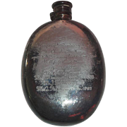 OLD Silver Plated Flask 1892-1902 Ballyhaft County Dawn Horse Race Trophy