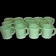 13 Vintage Fire-King Green Jadite Jadeite Mugs