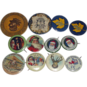 12 Vintage Pinback Buttons - Christmas Brer Rabbit Syrup Butter Stag +