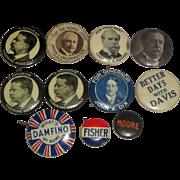 11 Vintage Political Campaign Pinback Buttons - Damfino Hughes Roosevelt ++