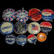 12 Vintage Political Campaign Pinback Buttons - Buzzy Coolidge Dawes Damfino +