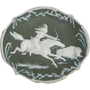 Gebruder Heubach German Jasperware Dish with American Indian Buffalo Hunt