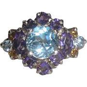 Sterling Silver Ring with Purple Light Blue & Yellow Stones