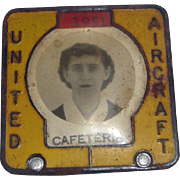 1951 United Airlines Employee Cafeteria Badge