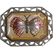 Vintage Rectangular Butterfly Pin / Brooch