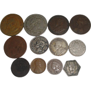 12 Old U.S. & Foreign Coins 1864-1977 Indian Head, 2-Cent Piece ++