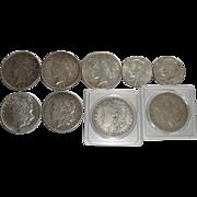 6 U.S. Morgan & Peace Silver Dollar Coins 1878-1922 + 1968 Quarters