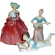 3 Vintage Royal Doulton Lady Figurines - Genevieve Melody & Faraway Teen