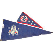 2 Vintage American Airlines Fabric Pennants with Eagles