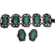 Vintage Chunky Silvertone Bracelet & Earrings with Blue Stones