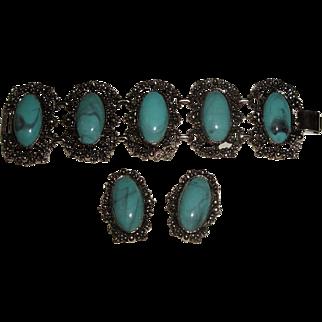 Vintage Chunky Silvertone Bracelet & Earrings with Blue Stones