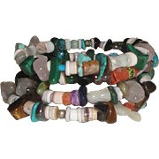 Vintage Flexible Bracelet with Stones & Carved Birds