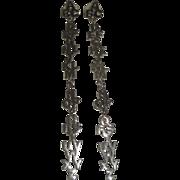 Long Silvertone ABCs Alphabet Dangle Earrings