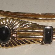 Signed Judith Leiber Double Coil Stretch Belt & Buckle with Black Stones