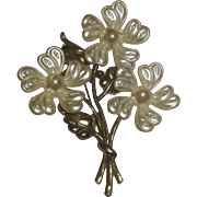 Large 3 Flower Pin Brooch