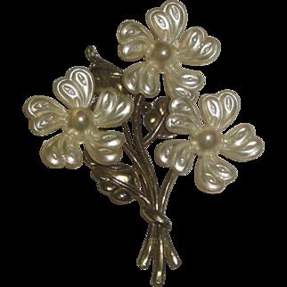 Large 3 Flower Pin Brooch