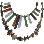 Long Southwestern Style Necklace with Beads & Stones