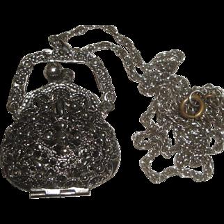 Silvertone Necklace with Large Purse / Handbag Pendant