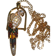 Signed Nolan Miller Convertible Crystal PARROT Necklace Pendant Pin Brooch
