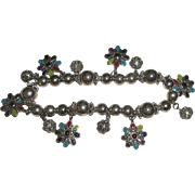 Silvertone Bracelet with Pretty Beads & Enameled Flowers