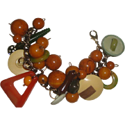 Unusual Vintage Bracelet of Chunky Plastic Beads & Buttons