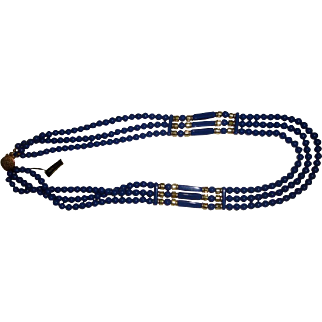 Vintage Blue Lucite Beaded Necklace