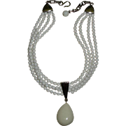 Signed Donna Karan White Glass Beaded Necklace with Teardrop Pendant