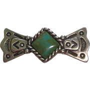 CJ Sterling Silver Southwestern Pin with Green Stone
