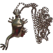 Sterling Silver Necklace with Cute Frog Pendant