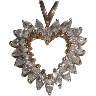 Sterling Silver Gold Vermeil Heart Pendant with Marquise Stones