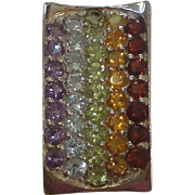 Sterling Silver Pendant with 5 Rows of Colored Stones