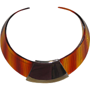 Vintage Tortoise Shell Plastic Collar Necklace