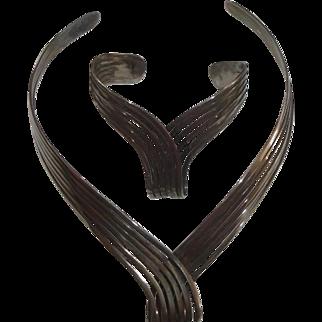 Nice Silvertone Looped 6-Strand Necklace & Bracelet Set