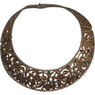Vintage Metal Collar Necklace with Flowers & Colored Stones