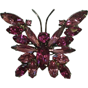 Pretty Butterfly Pin Brooch with Pink Faceted Stones