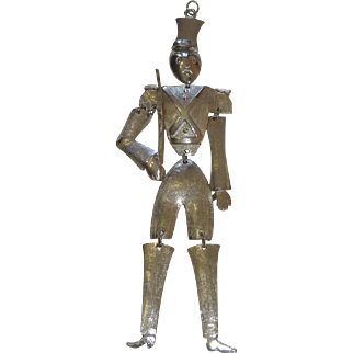 Large Toy Soldier Silvertone Pendant