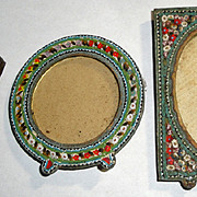 3 Lovely Micro Mosaic Picture Frames - Brass Italy +