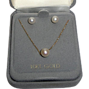10k Gold Necklace & Earrings Set with Faux Pearls  1.5 Grams