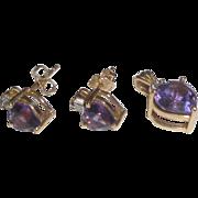 14k Gold Purple Heart Pendant & Earrings Set  2.7 Grams