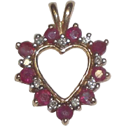 14k Gold Heart Pendant with Red & Clear Stones  1.5 Grams