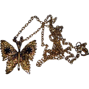 Sterling Silver Goldtone Necklace with Jeweled Butterfly
