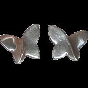 Pretty Sterling Silver Butterfly Earrings (Pierced)