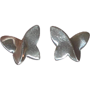 Pretty Sterling Silver Butterfly Earrings (Pierced)