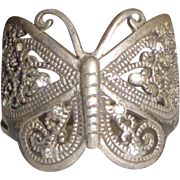 Sterling Silver Ring with Large Filigree Butterfly & Clear Stones