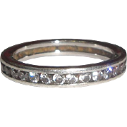 Sterling Silver Ring Lined with Channel Set Clear Stones
