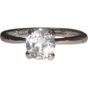 Sterling Silver Ring with Clear Solitaire Stone
