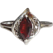 Sterling Silver Ring with Red Marquise Stone
