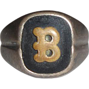 "Sterling Silver Letter ""B"" Initial Ring"