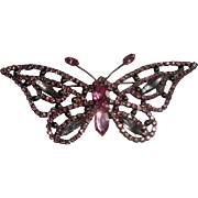 Vintage Butterfly Pin Brooch  with Pink Faceted Stones
