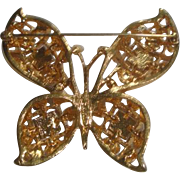 Signed Monet Butterfly Pin Brooch with Purple & Green Faceted Stones